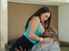 A hot babe is getting fucked in the office next to her husband