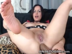Hot Amateur Milf Gets Dildo Anal Play