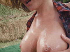 Cowgirl fucked in the ass before she sucks his dick clean
