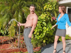 Gardener proves busty MILF Alexis Fawx that his cock isn't small