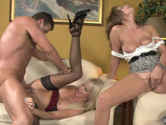 Slutty dick sucking girl interrupted by a naughty mommy
