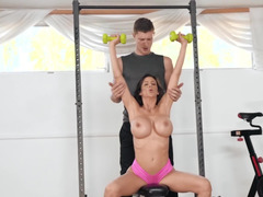 Teen and MILF share dick of personal trainer in the gym