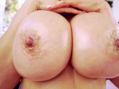 Adorable MILF slut with big titties loves to lick her man's balls