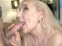Slick-haired guy pampers pussy of blonde old lady with hard cock