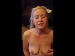 Hot blonde mature wife Jizzed on the face