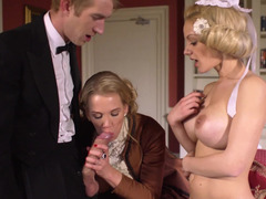 Nasty blonde slut and her cute maid sharing a terrific pecker