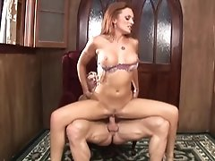 Red-haired cougar is super crazy about his thick manhood