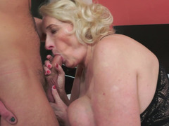 Super hot blonde granny with huge naturals gets nailed by a stud