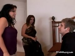 Mommy And Auntie Giving Stud A Naughty Spanking