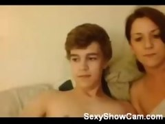 Hot mom fucks teen boy on webcam