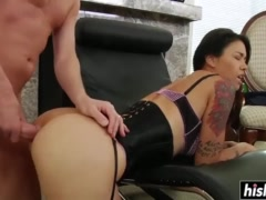 Beautiful brunette gets kinky and fucked