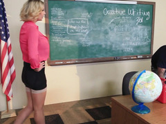 Teacher Leigh Darby finds a big cock student to fuck her