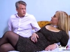 """AgedLovE Busty Blonde Fucking Bussinesman Hard"""