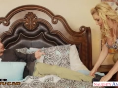 Blonde horny cougar Sasha Sean devours a young innocent - Naughty America