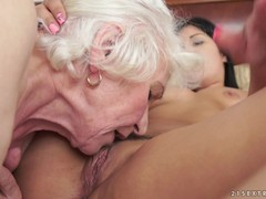 Lesbian granny Norma gets her asshole licked