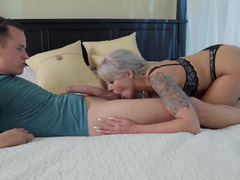 Stepson is very surprised that MILF wants to play with his dick