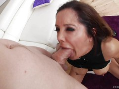 Dark haired sexy MILF Francesca Le in white thong and