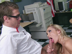 A hot chick is getting a big pecker inside her snatch in the library