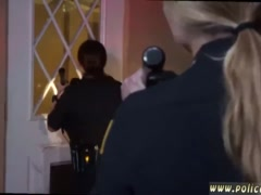 Long blonde hair milf Black Male squatting in home gets our milf officers