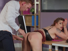 Redhead MILF is being mercilessly fucked by a rough guy