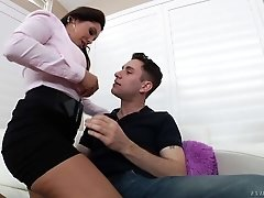 Elegant brunette MILF Francesca Le in black miniskirt and sexy
