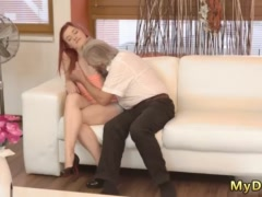 Old guy girl and daddy gives creampie first time At the same second when