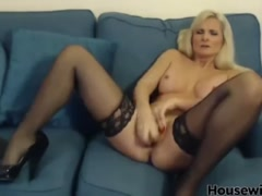 British blonde cougar in stockings
