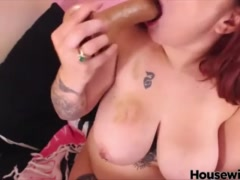 Readhead BBW fucks herself in fat ass and mouth
