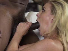 Interracial sex action with porn diva and younger black guy