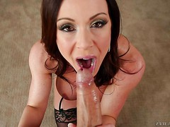 Beautiful dark haired mom Kendra Lust with heavy makeup drops