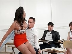 Milf pinup girl fucks in front of a couple of her naughty students