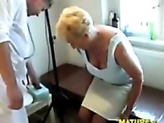 Blond granny visiting doctor and being banged with facial cumshot.