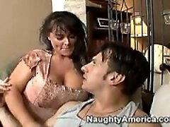 Mom watches movie with sons friend, show him her big tits, suck, titfuck and even more!