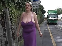 Mature BBW walking on streets and flashing her XL boobs