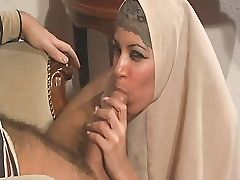 Super nice arab girl is sucking and fucking being dressed