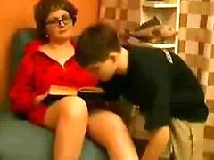 Young guy fucking his teacher older lady