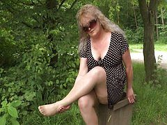 Fat busty mature woman flashing her tits in the park, young guy picks her up and fucking hard at his home