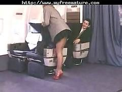 Business class passenger Kerry Mathew with hot long pantyhose legs was licked and fucked in the airplane