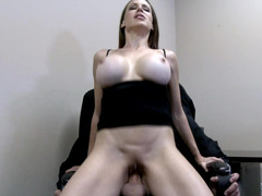 A milf that has huge tits is giving a blow job and a suck as well