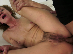Young boy bonks asshole, hairy pussy and mouth of an old lady