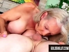 """GILF Super Sexy Pleasures a Younger Lover with Her Mouth and Aged Pussy"""