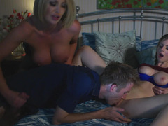 Young porn stud fucks two super slutty darling in their bed