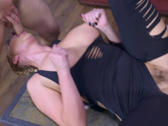 A busty cock starved slut is getting fucked on the sofa by two guys