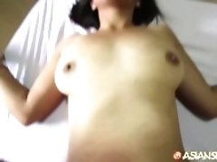 """Asian Sex Diary - Asian MILF with hairy pussy gets creampied"""