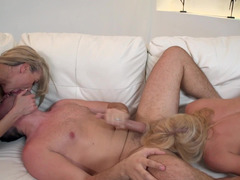 A pair of blondes that love dick are performing with a horny guy