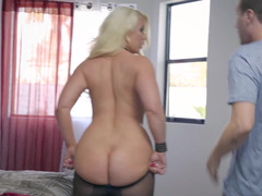 A blonde is fucked deeply in her pussy and her tits are bouncing