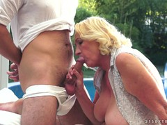 Old blonde Sila  gets hammered by the pool