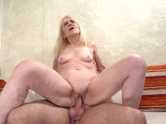 Granny Gives Her Shaved Pussy To A College Guy