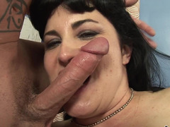 A curvy milf that has a hairy pussy is getting penetrated