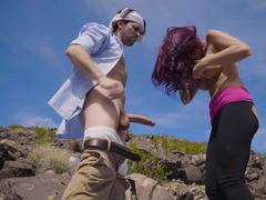 Hiker and a big cock guy have hardcore sex in the desert